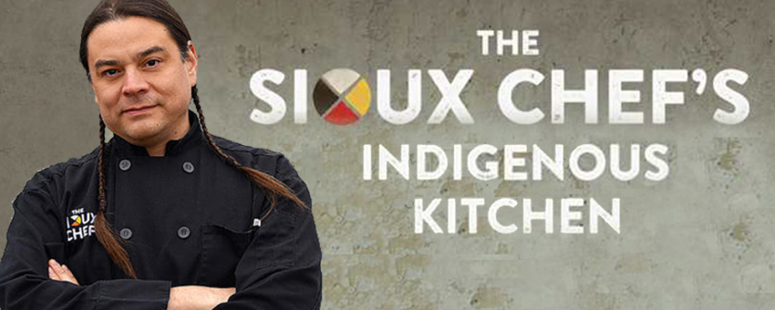 Photo of Sean Sherman, author of The Sioux Chef's Indigenous Kitchen