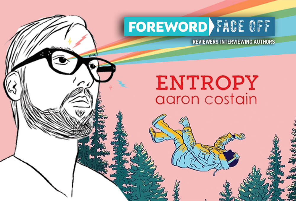 Author Aaron Costain and cover of Entropy