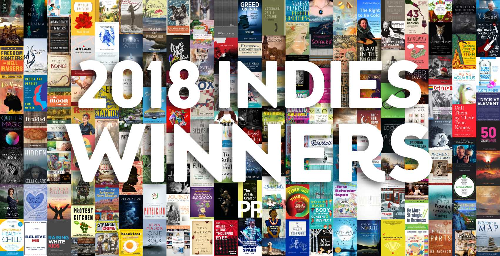 "Collage of 2018 INDIES winners' book covers with text ""2018 INDIES Winners""."