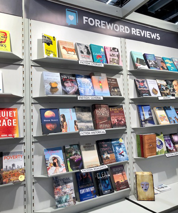 Books at the Foreword Reviews booth