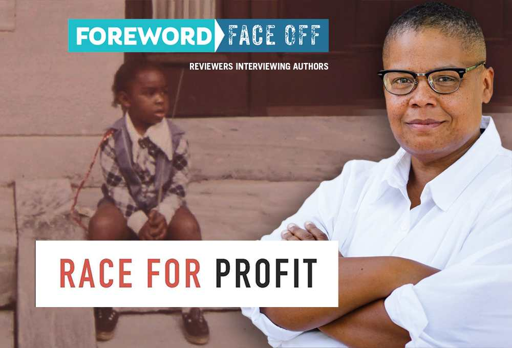 Author Keeanga-Yamahtta Taylor in front of images from Race for Profit cover