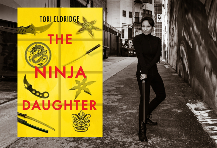 The Ninja Daughter cover and author in ninja pose
