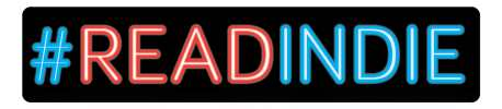 "#READINDIES Horizontal logo with ""#"" and ""INDIE"" in neon blue and ""READ"" in neon red."