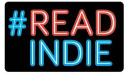 "#READINDIES Square logo with ""#"" and ""INDIE"" in neon blue and ""READ"" in neon red."