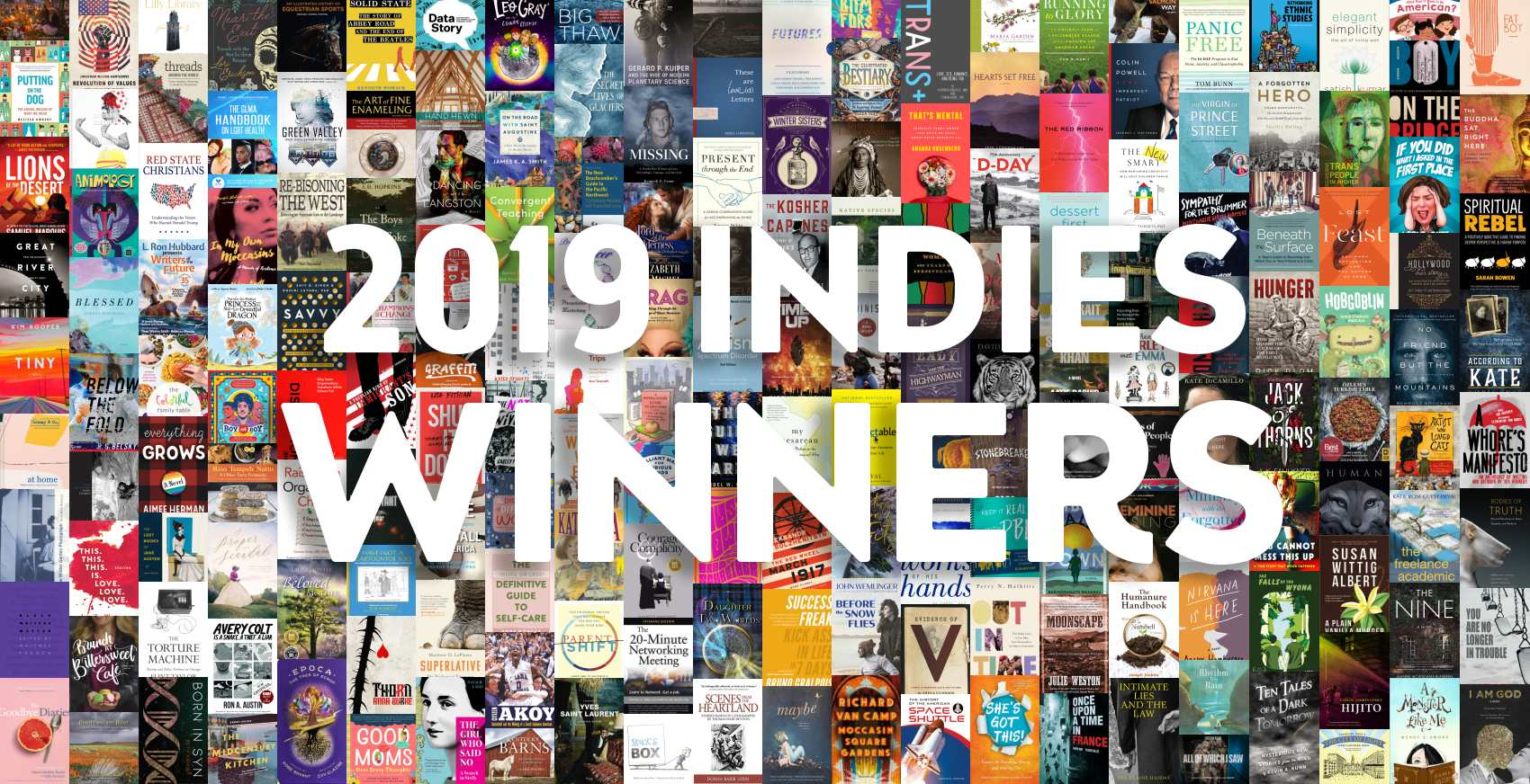 """2019 INDIES Winners"" on top of collage of winners' book covers."