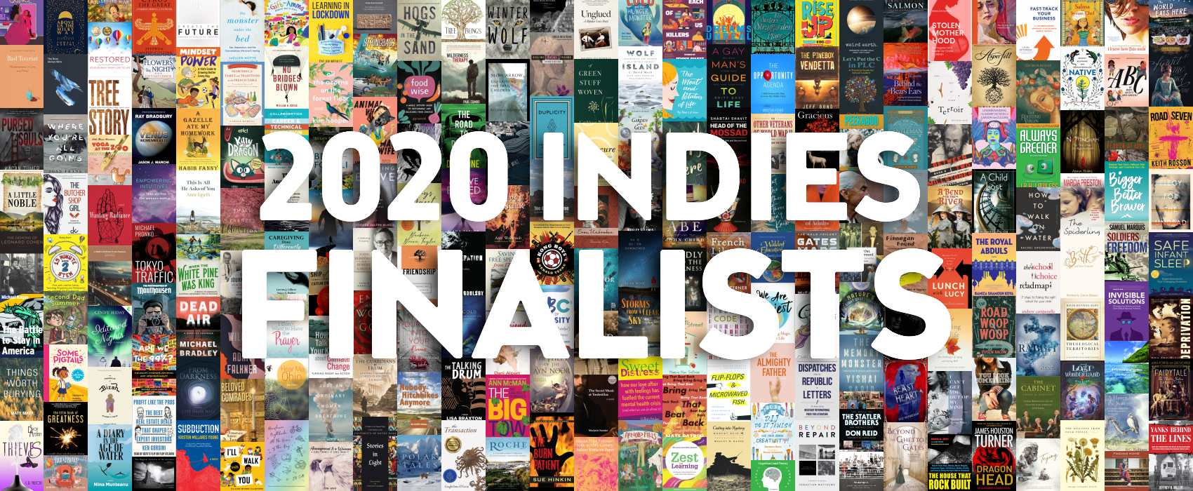 """""""2020 INDIES Finalists"""" on top of collage of covers of books that are 2020 INDIES Finalists."""