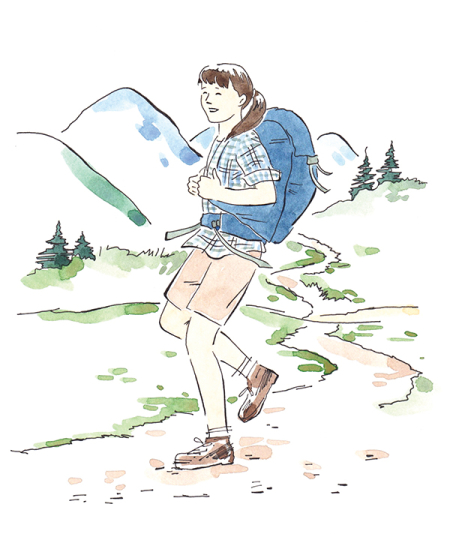 Hiker art from The Girl's Guide to Building a Fort: Outdoor+ Indoor Adventures for Hands-on Girls